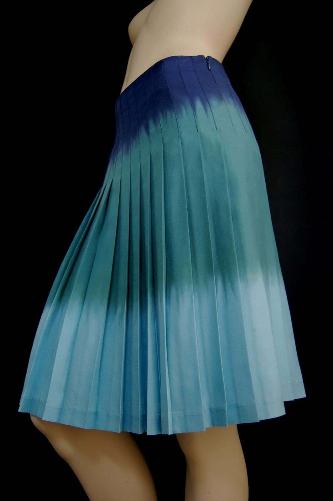 Theory Gorgeous OMBRE Pastel Sky, Turquoise&Midnight Silk PLEATED Skirt