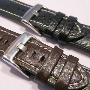 HEAVY-DUTY-CALF-LEATHER-WATCH-STRAP-Stitched-Buffalo-18-20-22-24mm-Black-Brown