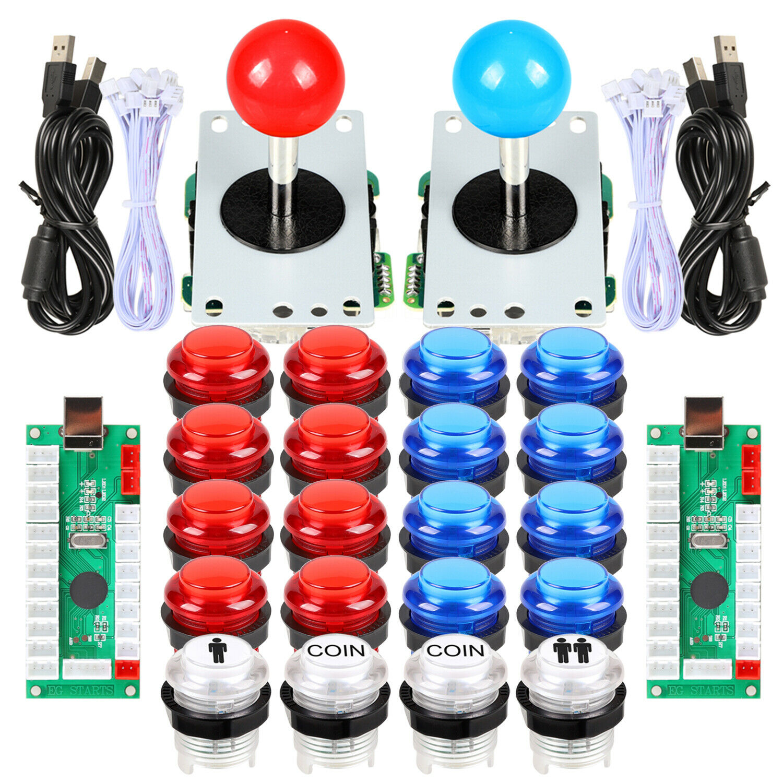 Arcade DIY Parts USB Controllers Kit 2 Joystick + 20 LED Illuminated button MAME