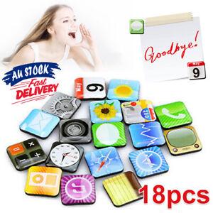 18-Pcs-Fridge-Magnets-Memo-iPhone-App-Logo-Refrigerator-Whiteboard-Magnet