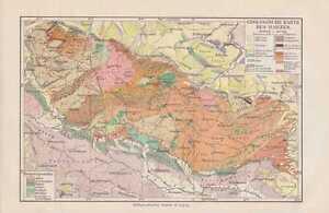 Geologische Karte Harz Landkarte Von 1906 Geologie Brocken Ebay