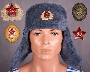 caf572128e7 Original Russian Soviet USSR Red Army Ushanka winter hat cap cockade ...