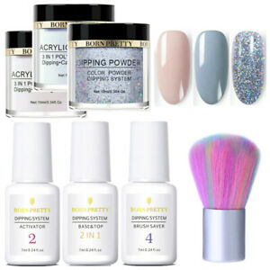 7Pcs-Set-BORN-PRETTY-Dipping-Powder-Liquid-Brush-Smoke-Gray-Nail-Starter-Kit