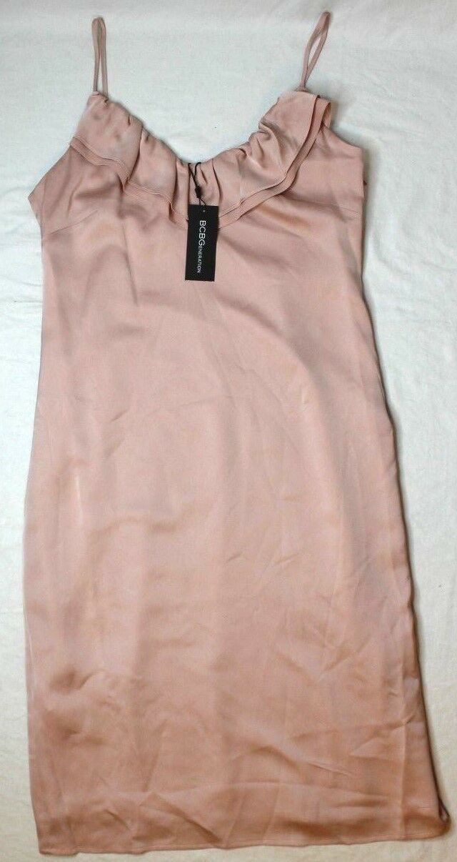 BCBGeneration Women's Pink Ruffled Slip Dress pink Smoke New NWT
