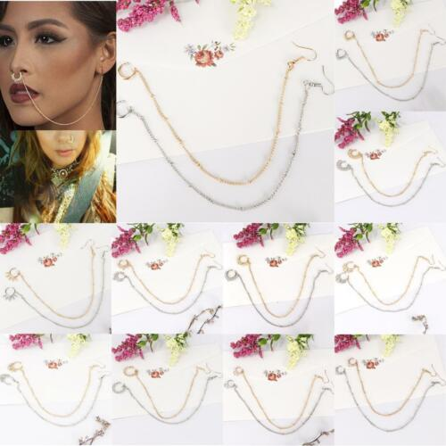2Pcs Crystal Ear To Nose Ring Chain Septum Nose Stud Non Pierced Body Jewelry