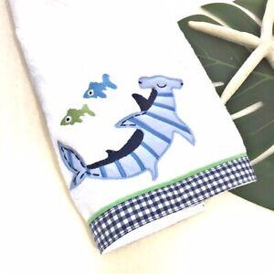 Pottery Barn Kids Shark Hand Towel White W Blue Gingham