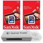 2 PACK - Lot of 2 SanDisk 16GB SD HC Class 4 SDHC Flash Memory Card SDSDB-016G