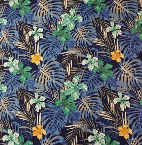 Frond Navy 100/% Cotton Poplin Floral bunting quilting Dress Craft Fabric