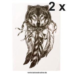 2 x schwarzes wolf traumf nger tattoo indianischer wolf. Black Bedroom Furniture Sets. Home Design Ideas
