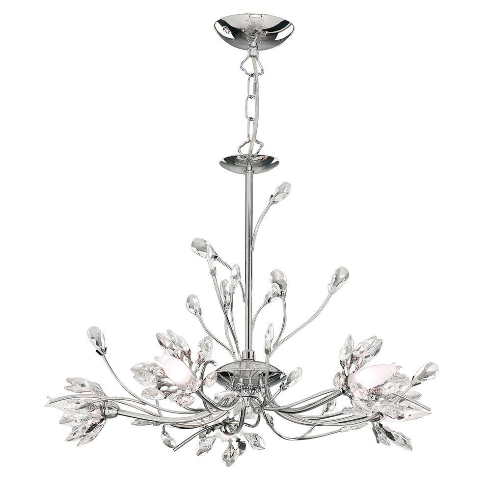 Hibiscus Araña de Cristal Pantalla Acabado Cromo De 5 con Pantalla Cristal de Vidrio Flor de Bud 22abf2