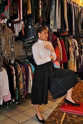 Costante Laponia Culottes Pantaloni Gonna Pantaloni Rock Nero Shiny Elegante 90er True Vintage 90s-mostra Il Titolo Originale