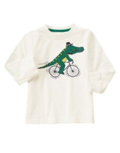 GYMBOREE WOODLAND PARTY GATOR RIDING BICYCLE L//S TEE 12 18 24 2T 3T 4T NWT