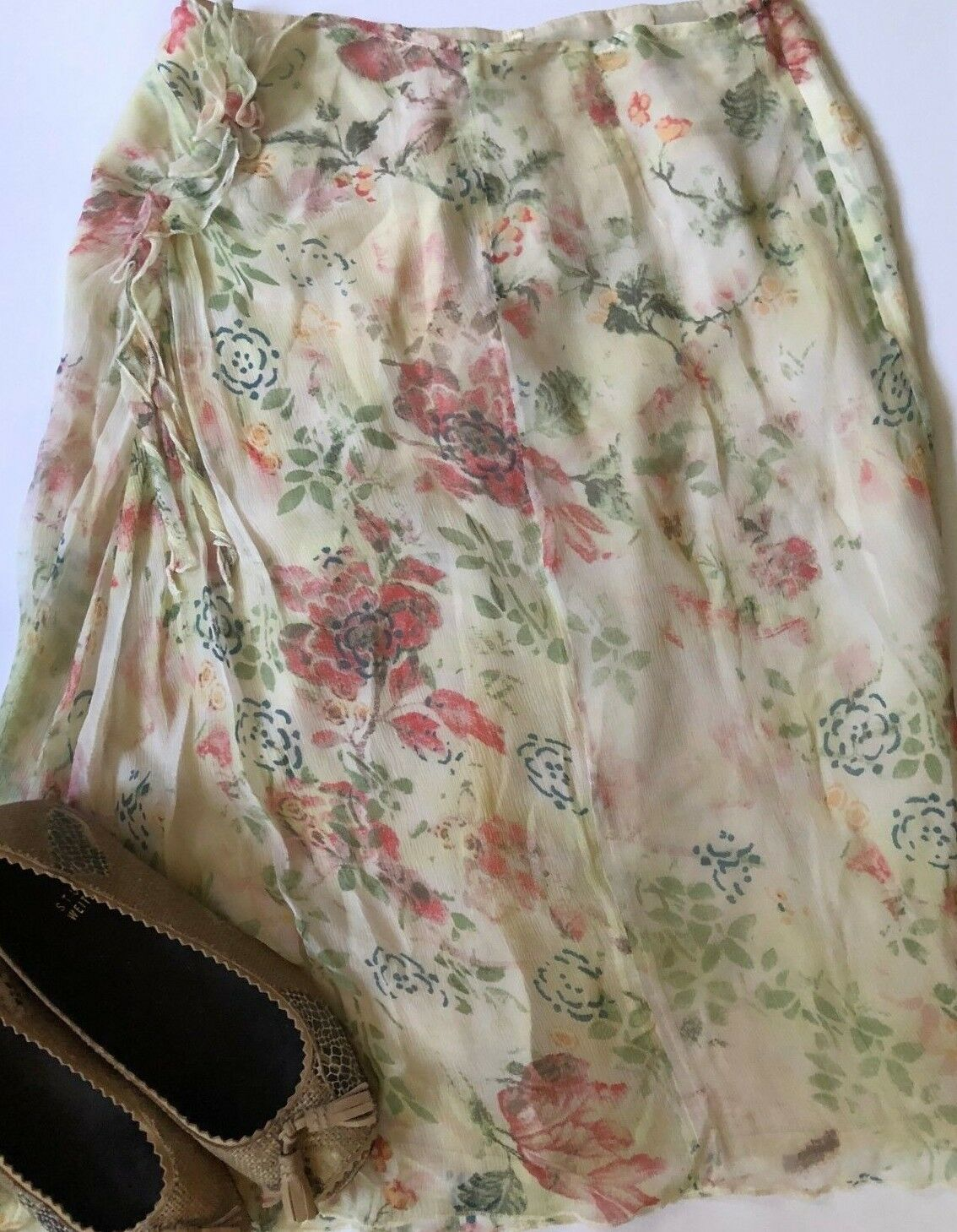 PHILIPPE ADEC   Women's 100% Silk Ivory Floral Skirt Sz  4 Free Shipping