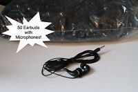 Bulk Lot Of 50 Black/silver 3.5mm In Ear Earbuds W/ Mic For Samsung Galaxy S5 S6