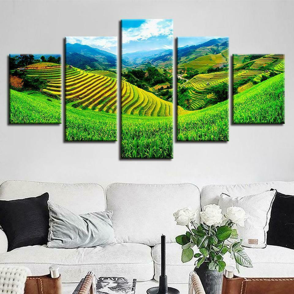 Rice Terraces Agriculture 5 panel canvas Wall Art Home Decor Poster Print