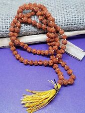 RUDRAKSHA  JAPA MALA  Temple ROSARY 108 +1 BEAD Rudraksh HINDU MEDITATION 5 MM