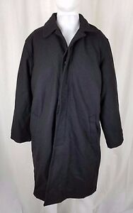 Alpine-Swiss-Wool-Placket-Front-Quilted-Insulated-Black-Peacoat-Coat-Mens-S