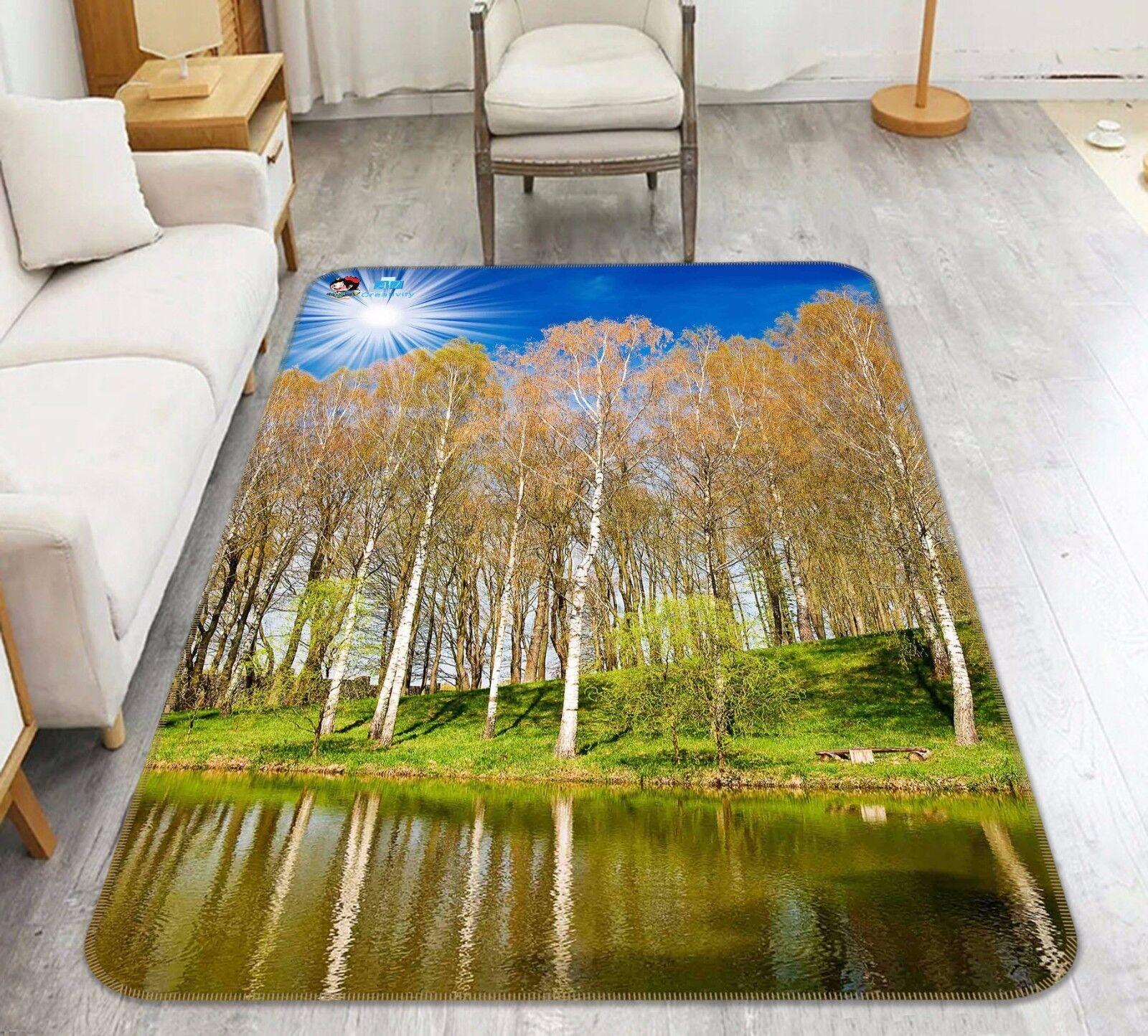 3D LAGO FORESTA 467 tappetino antiscivolo tappeto camera Tappetino Qualità Elegante foto Tappeto UK