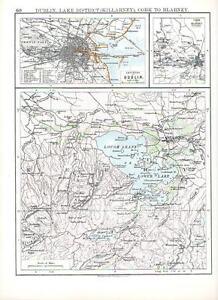 Blarney Ireland Map.1897 Victorian Map Ireland Dublin Cork To Blarney Lake District