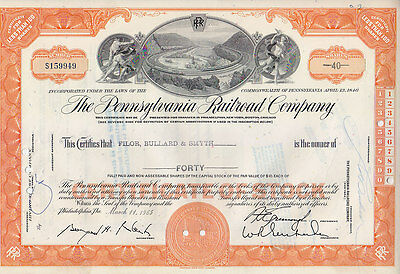 Set of 6 NY Central RR-Penna RR-Penn Central RR 1950s-1980s Stock Certificates