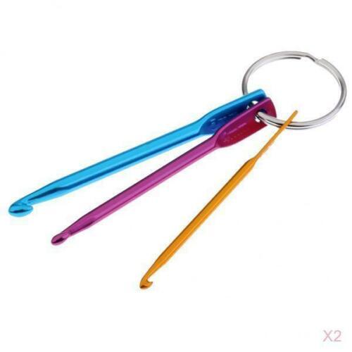2 Set 3 Größen Häkelnadeln Schlüsselanhänger Set Weben Werkzeuge