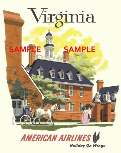 """8.5/"""" X 11/""""  Travel Poster VIRGINIA American Airlines"""