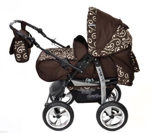 Wunderschöner Kinderwagen Pram Buggy Kamel Braun Muster Autositz