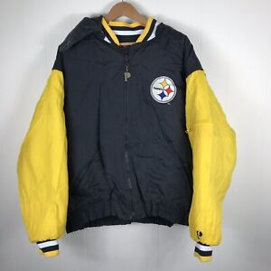 new concept c84e7 1a17b Details about Vintage Pro Player Pittsburg Steelers Black Yellow Winter  Jacket NFL Size Large