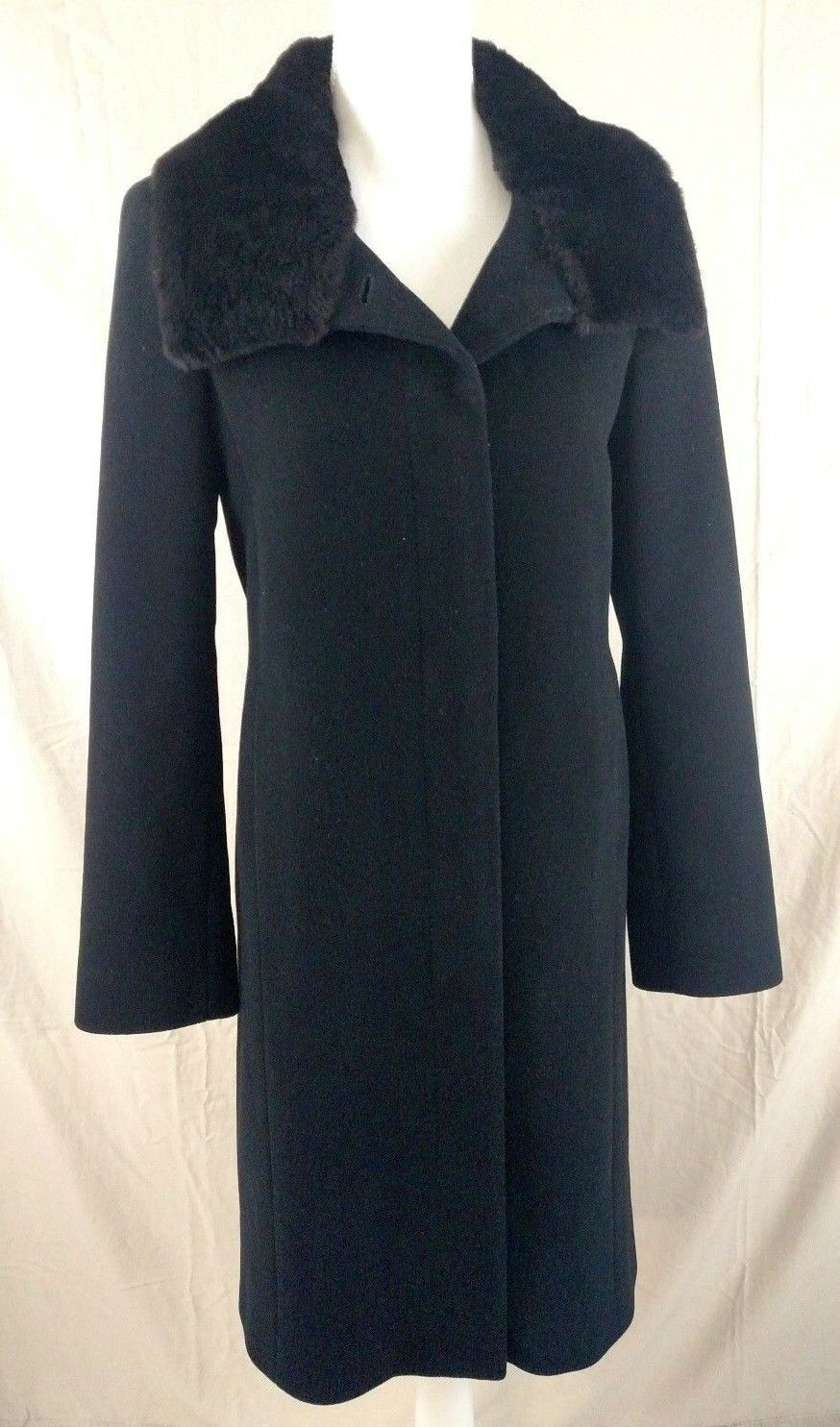 Cole Haan Wool Cashmere Womens Long Formal Coat Beaver Fur Collar Sz 6 Lined