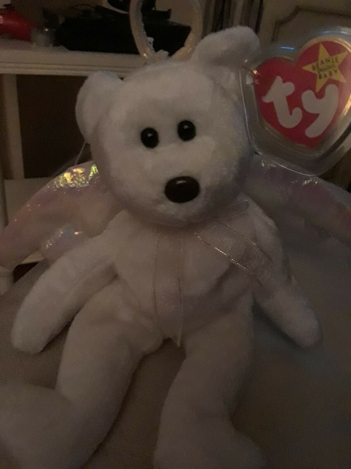 TY 1998 'Halo' Beanie Baby with Errors Errors Errors and Brown Nose 0648e2
