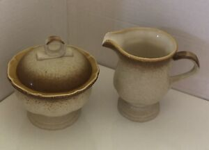 Vintage MIKASA SUGAR BOWL & CREAMER Whole Wheat with LID E8000 Made in Japan