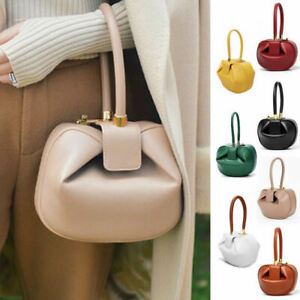 Real Leather Wonton Round Pouch Clutch Purse Top Handle Tote Handbag Grab Bag
