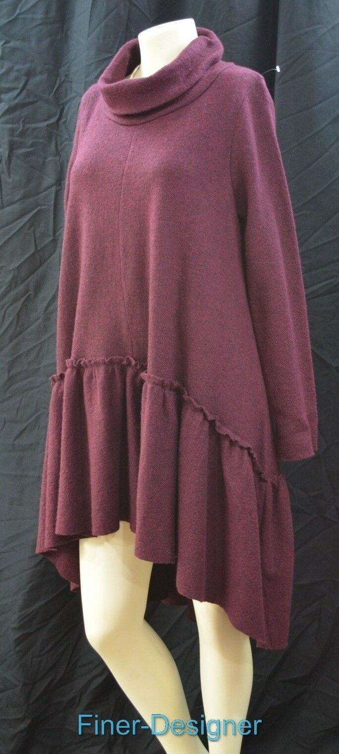 Free People Tunic Boiled Wool shabby Swing Ruffle Hi Low Oversized Dress S P NEW