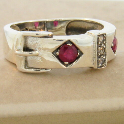 GENUINE RUBY VICTORIAN BUCKLE 925 STERLING SILVER RING SIZE 9.75 #831