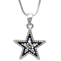 Clear Aurora Borealis Crystal Two Tone Color Star Pendant Necklace Bling Jewelry