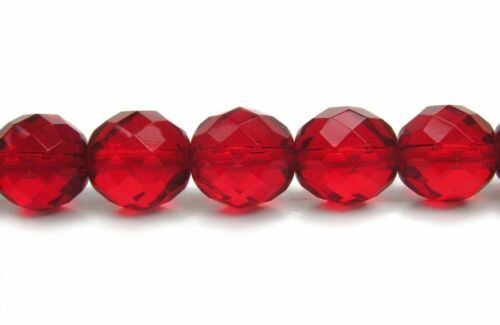 """Czech Fire Polished Round Faceted Glass Beads in Light Siam color,16/""""strand red"""
