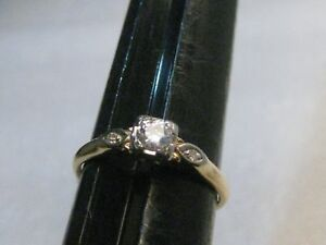 Vintage-14kt-Diamond-Engagement-Ring-25ctw-sz-7-75-1-57gr-1930-039-s-1940-039-s