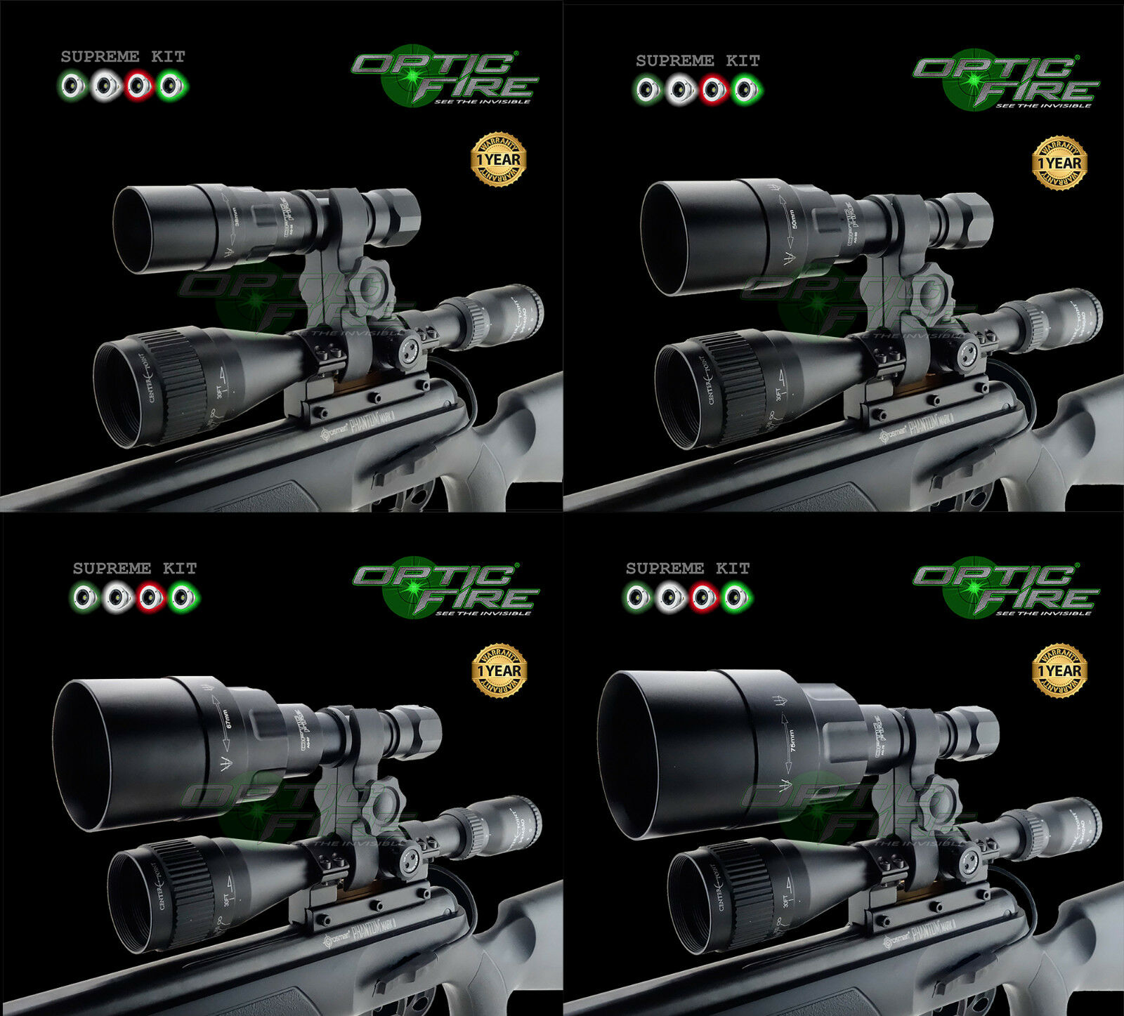 Opticfire® AG 4 LED High power scope mount lamping kit hunting lamp NV torch
