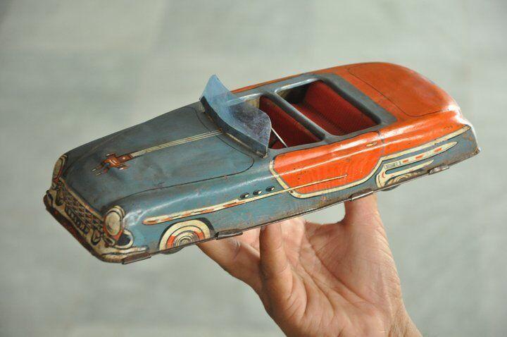 Fricción vintage 881 - 4 Litografía Largo Coche de juguete de estaño, Coleccionable
