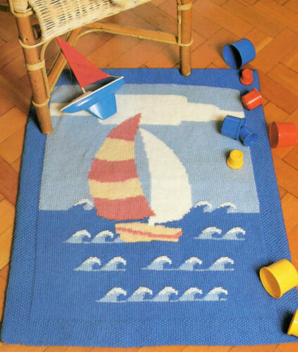Knitting Pattern Childrens Rug Playmat Sailing Boat Easy To Knit DK