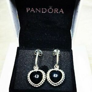 9df419ebaaa77 Authentic PANDORA Silver Mi Amor Black Onyx Heart Earrings 290532on Retired