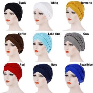 627b444765d Women Muslim Milk Silk Dichroic Braid Head Turban Wrap Hat Lady ...
