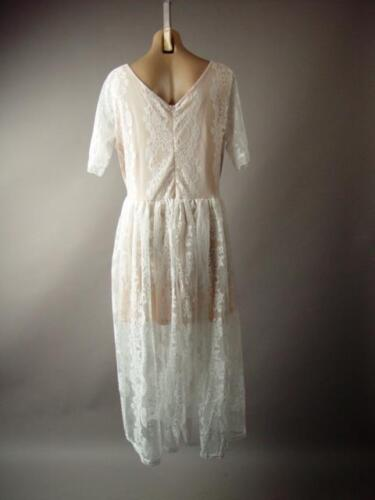 Fit and Flare Wedding Formal Tea Length Gown 272 mv White Lace Dress 1XL 2XL 3XL