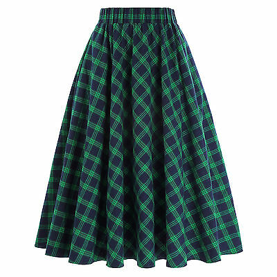 Vintage Women High Waist Plaid A-Line Skater Flared Pleated Midi Skirt Dress New