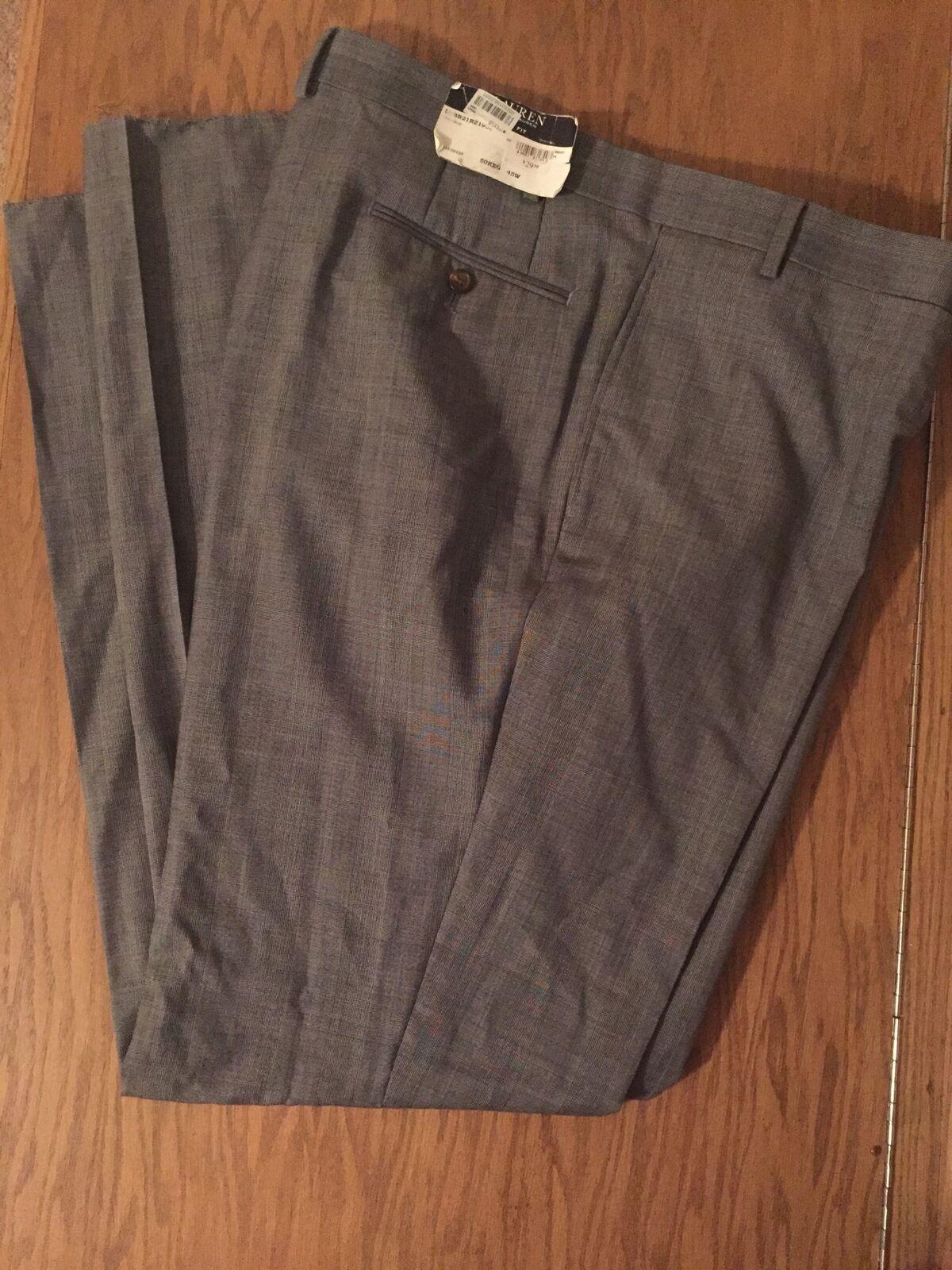 Ralph Lauren Wool Slim Fit Suit Pants Grey Mens Size 45W New