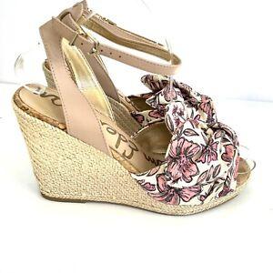 Sam Edelman 8.5 Aubrey Wedge Sandal Floral Espadrille Pink Canvas Ankle Strap