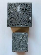 2 Vintage Letterpress Printers Blocks Stamps Letter V And Y Wood Amp Metal