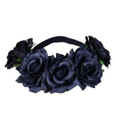 Large Halloween Noir {Sugar Skull} Rose Fleur Guirlande élastique Bandeau
