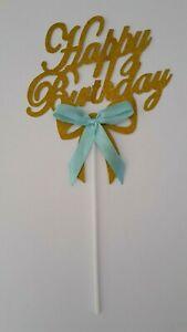 HAPPY-BIRTHDAY-CAKE-TOPPER-GOLD-GLITTER-CAKE-TOPPER-BLUE-RIBBON-BOW