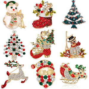 Christmas Brooches And Pins.Details About Christmas Brooch Pins Gold Diamante Crystal Broach Robin Santa Xmas Gifts Party